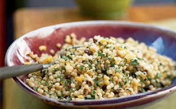 Couscous Maftoul aux légumes verts