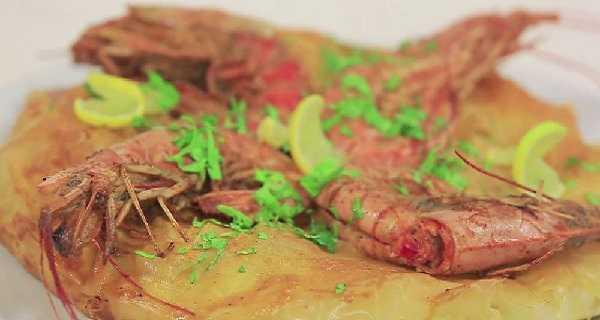 Pastilla aux crevettes et poivrons