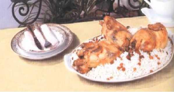 Poulet rôti au riz et aux amandes