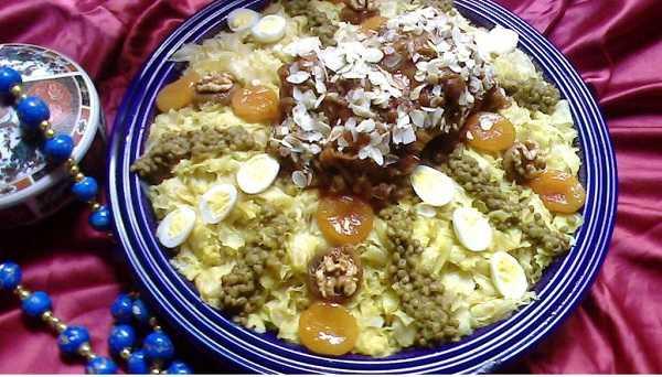 Rfissa sucrée à la tfaya et fruits secs