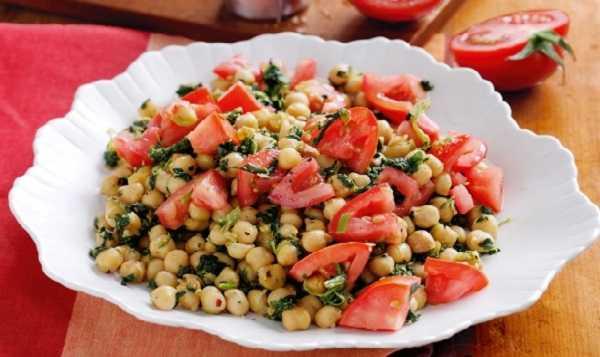 Salade de pois chiches aux pousses d'épinards
