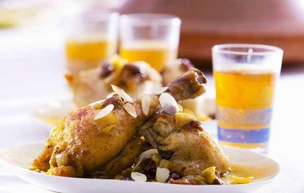 Tajine de poulet aux amandes effilées