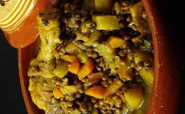 Tajine de poulet aux lentilles et carotte