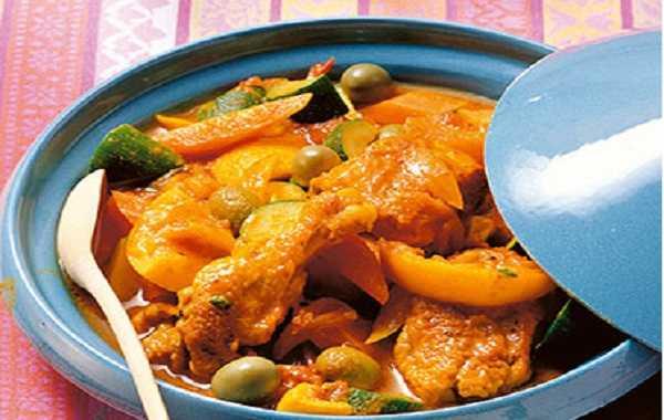 Tajine de poulet  aux petits légumes