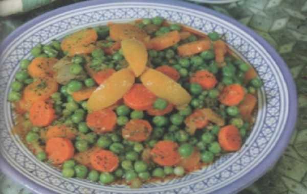 Tajine de veau aux  petits pois et carottes
