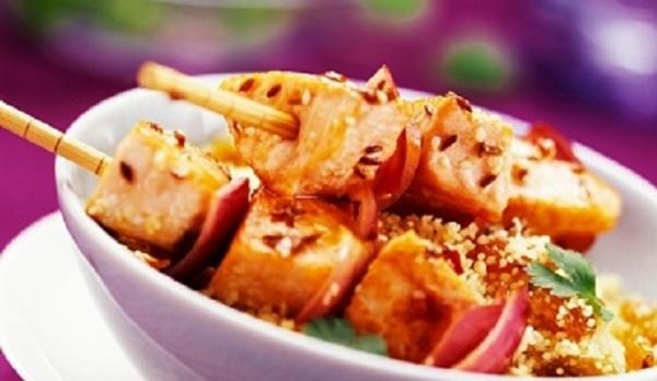 Brochettes de saumon aux épices