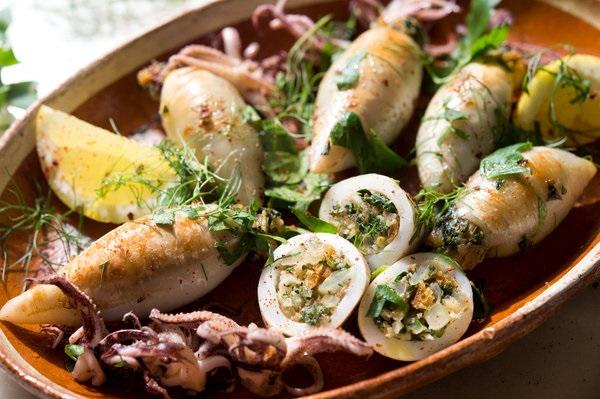 Calamars farcis à la Kefta et au riz