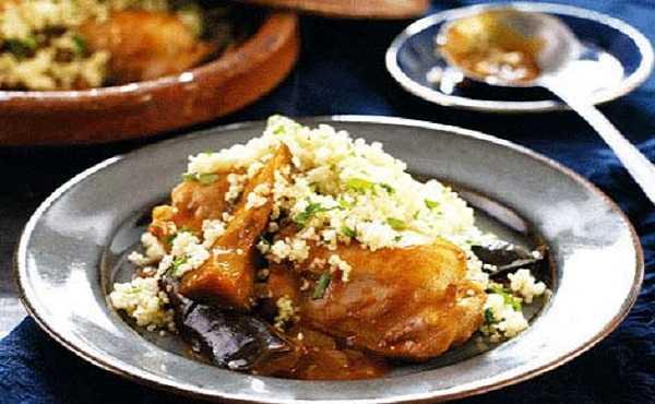 Couscous de poulet aux aubergines