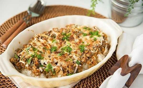 Gratin de riz � la viande hach�e