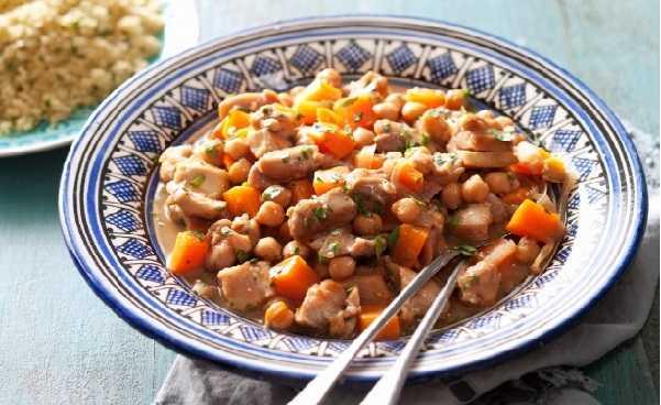 Poulet brais� marocaine aux pois chiches