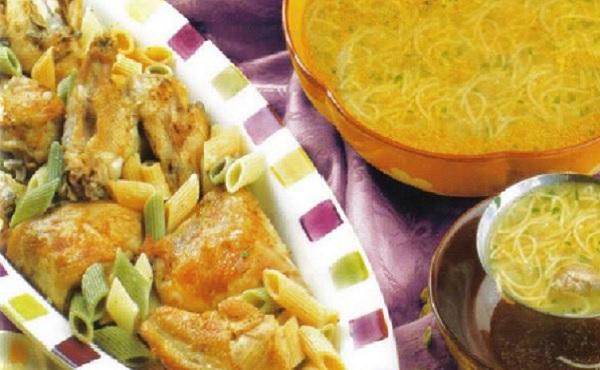 Poulet au four et soupe