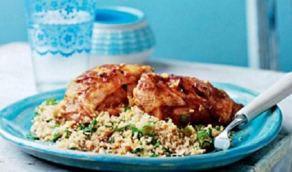 Poulet à la chermoula et couscous aromatisé