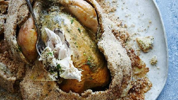 Poulet cuit au sel