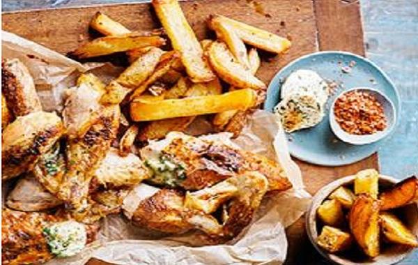 Poulet-frites au four