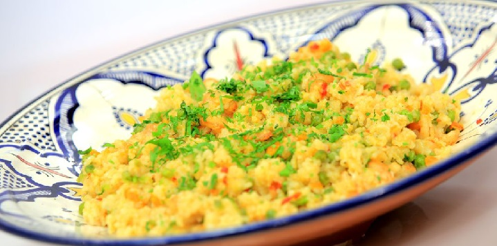 Riz aux crevettes et aux poivrons