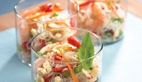 Salade à la vermicelle chinois et crevettes