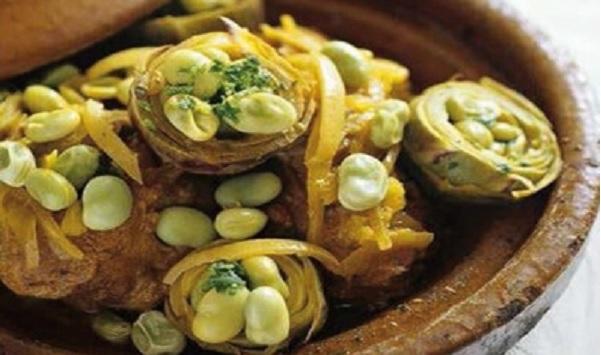 Tajine d'artichauts et fèves