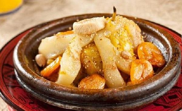 Tajine aux poires et abricots