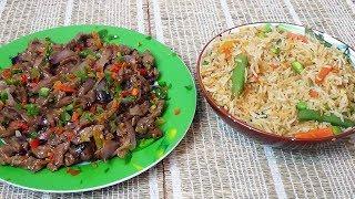 Boeuf aux oignons et riz sauté aux légumes repas asiatique