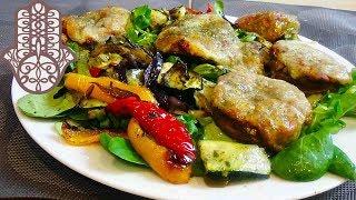 Champignons farcis et salade de légumes grillés