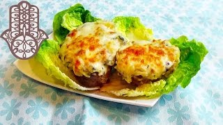Pommes de terre farcies au poulet et champignons