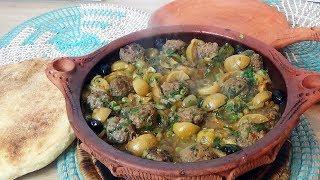 Tajine de boulettes de kefta aux légumes verts