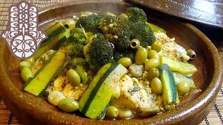 Tajine de congre aux légumes verts
